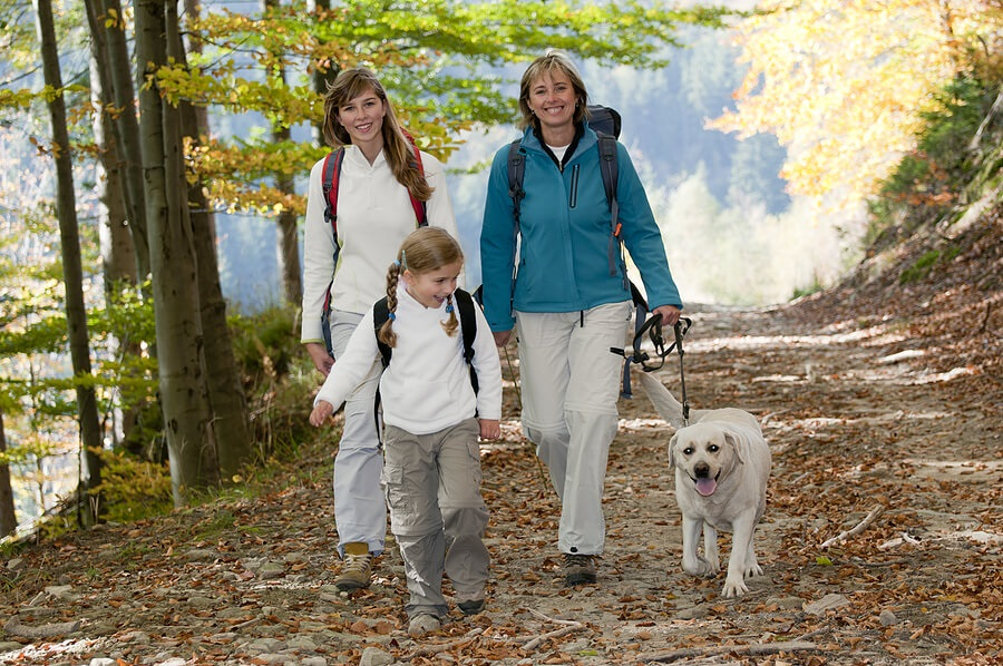 Fun Family Fitness, Moms and daughter hiking with dog for exercise