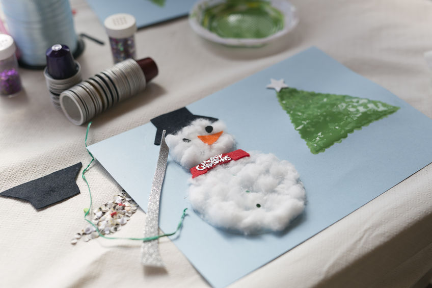 Cotton Ball Holiday Card